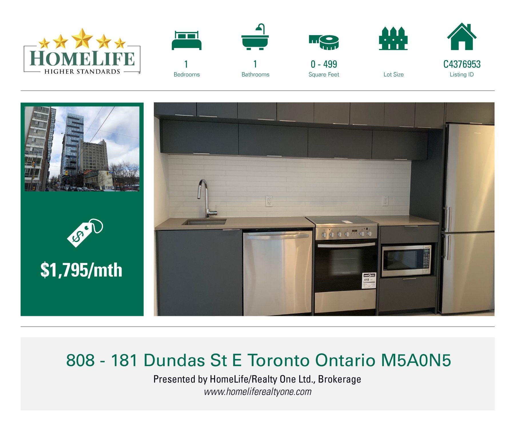 1 Bedroom Condo For Rent!!! 181 Dundas St E, Unit 808