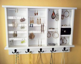 Wall hanging Jewelry Organizer Earring by daleswoodandmore jewelry