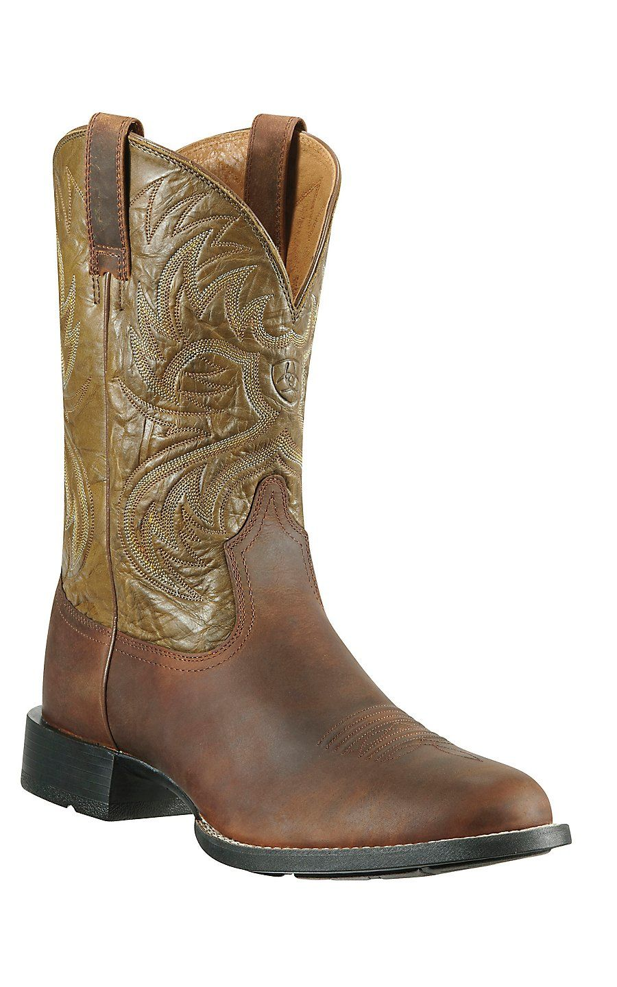 73862ac8ebe Ariat Heritage Horseman Men's Distressed Brown with Army Green ...