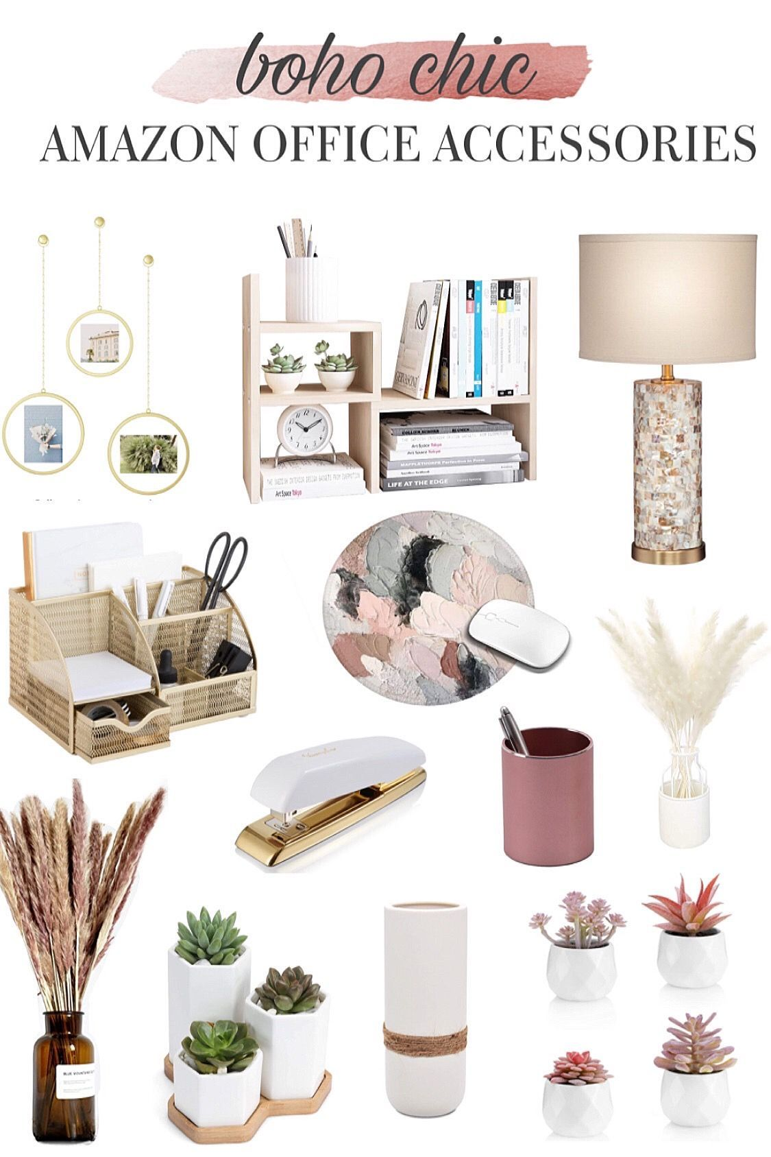 Affordable home decor to inspire your boho spirit. Boho Chic is one of the latest trends in home decor and i'm here to help you find the perfect pieces to implement in your office decor inspo. #houseinterior #boho #bohodecor #amazondecor #amazonfinds