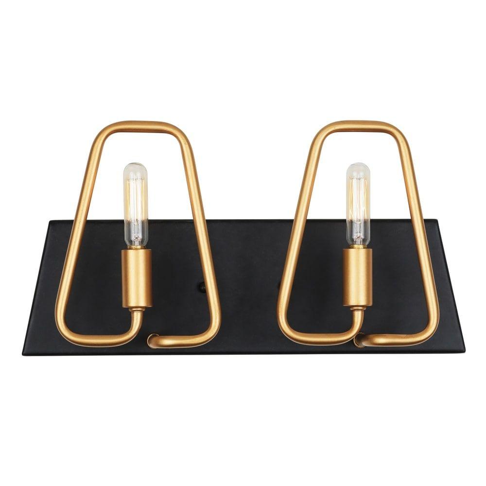 Photo of Varaluz Triangulo 2-light aged gold, carbon bathroom / vanity, black