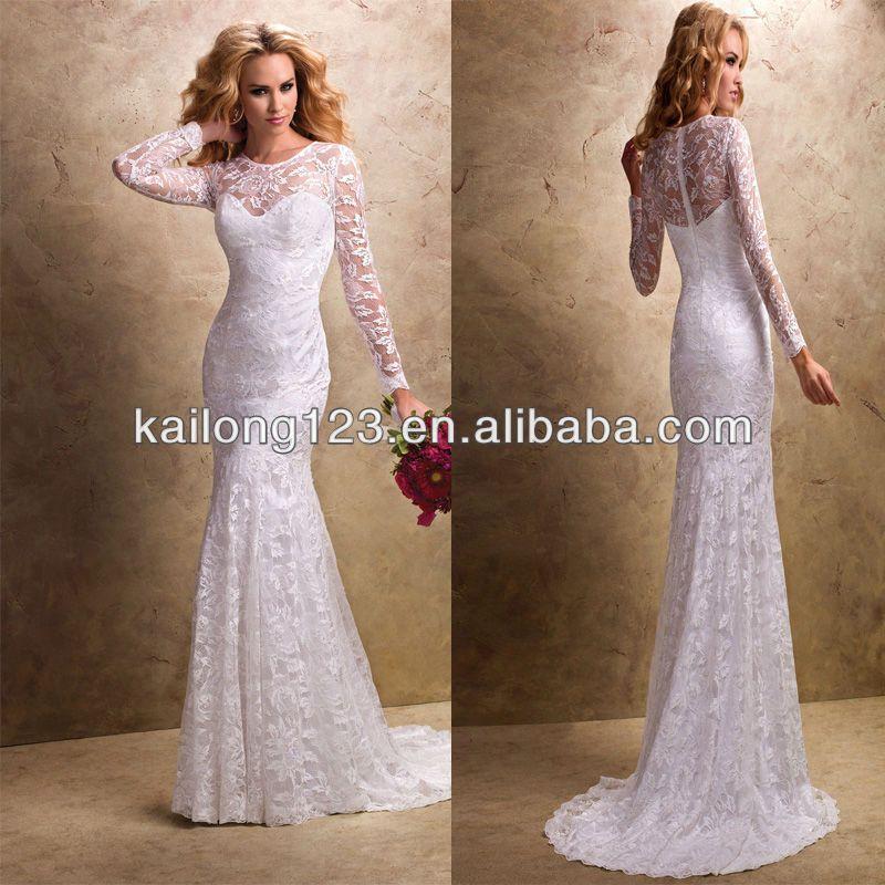 long lace wedding dress | Lace Up Back Pick Up Skirt Satin High ...
