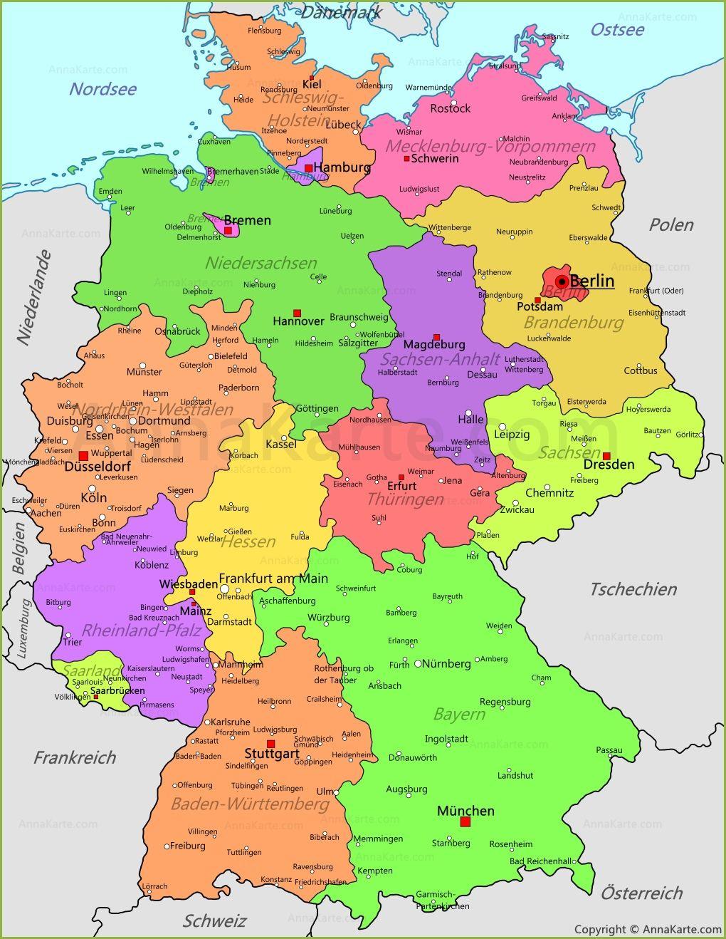 deutschland karte regensburg Политическая карта Германии: deutschland karte. (1020×1318