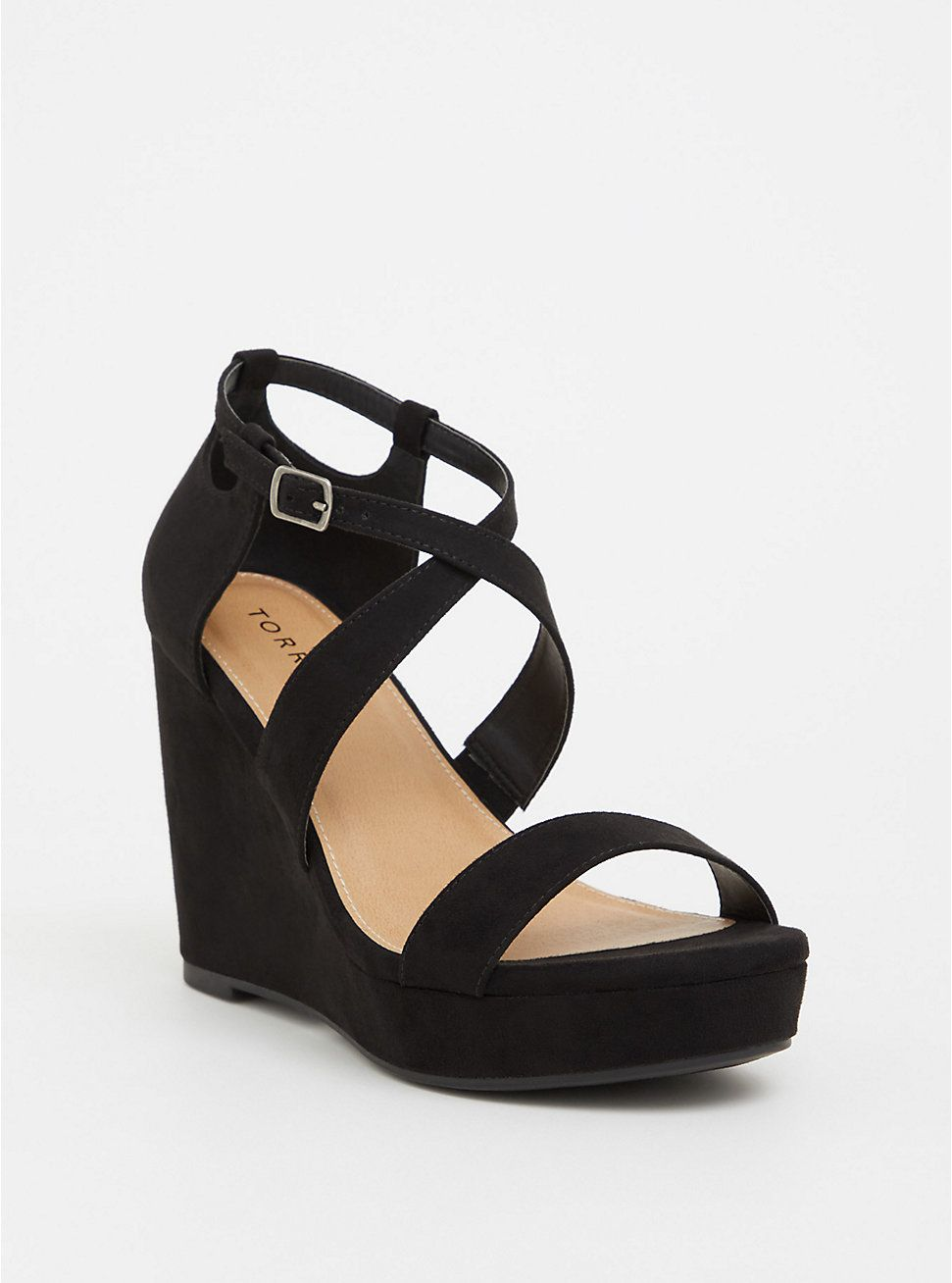 24a1b536005 Black Strappy Platform Wedge (Wide Width) in 2019 | Plus Size ...