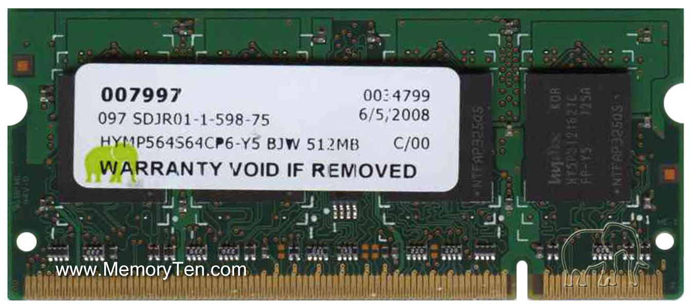 LOT OF TEN 64MB DDR MEMORY RAM PC2700 NON-ECC DIMM 2.5V