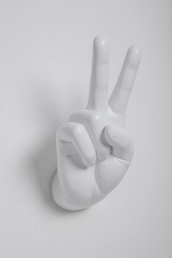 Interior Illusions Plus White Peace Hand Wall Mount