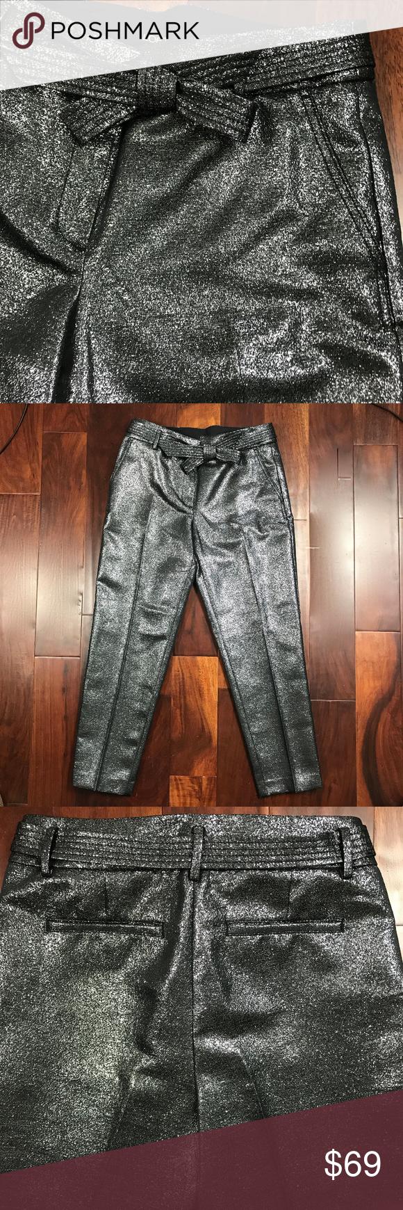 2a86efec0160 Loft Croped Metallic Textured Dressy Fancy Pants Just Beautiful Bow Belt  detail Loft Cropped Dressy Pants | Loft Metallic Textured Pants | Color: ...