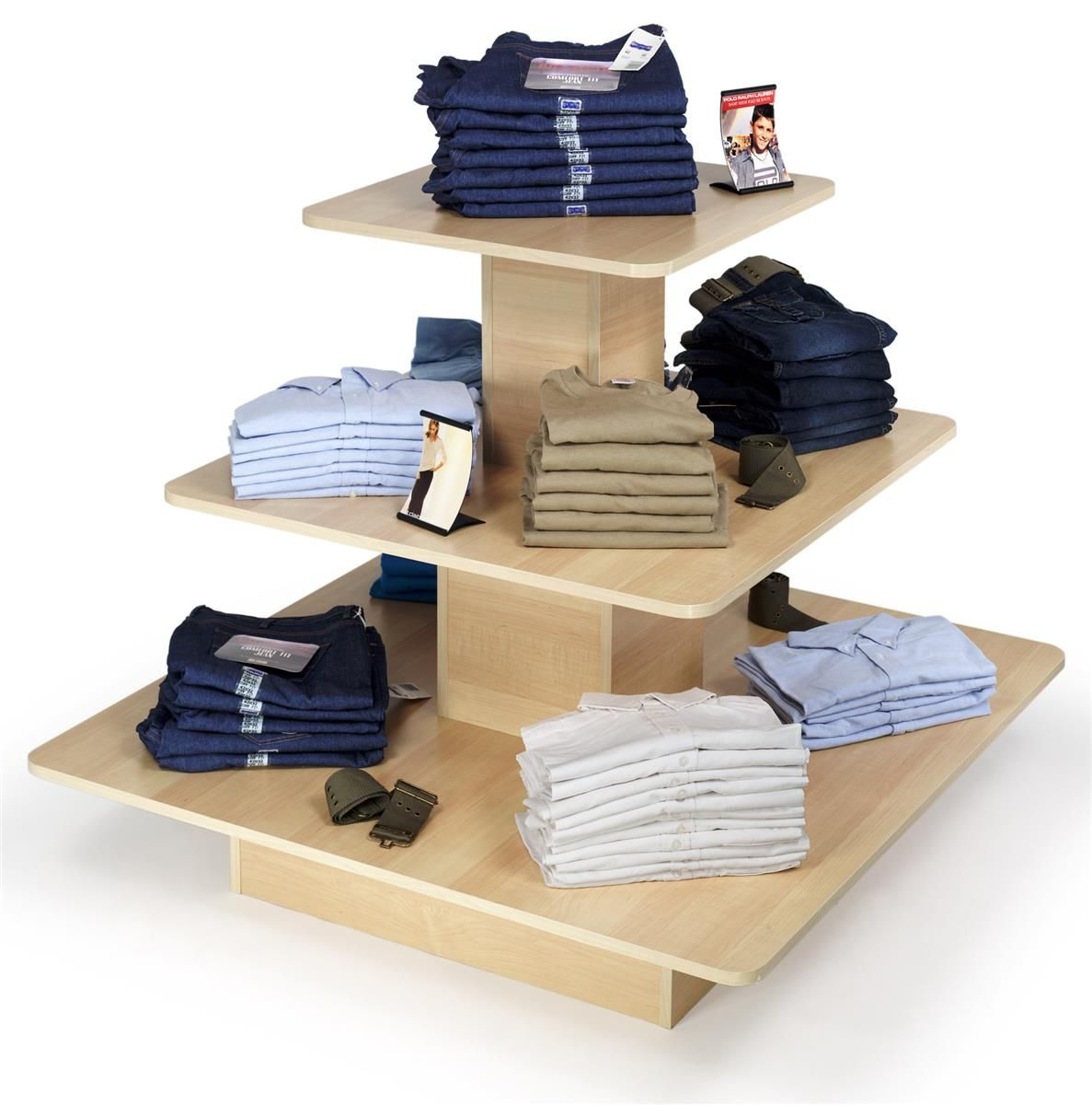 48 X 48 Tiered Display Table W 3 Shelves Square Maple Clothing Store Displays Retail Store Interior Kids Clothing Store Design