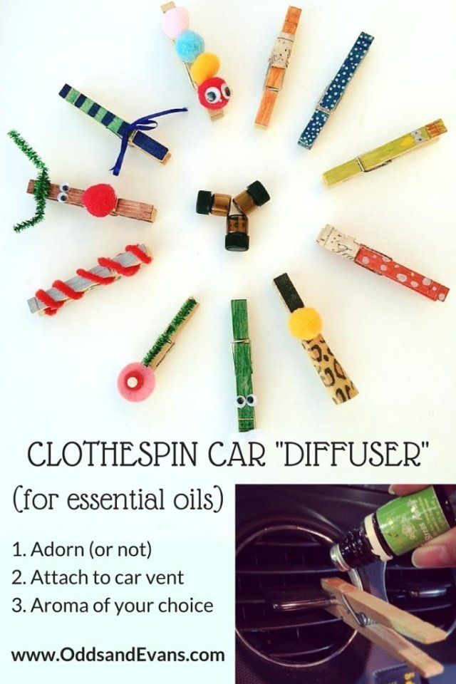 Make A Clothespin Car Diffuser For Essential Oils On The Go Yleo