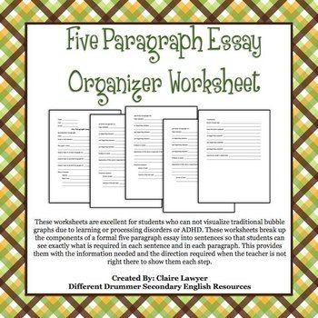 002 Five Paragraph Essay Organizer Worksheet Teaching