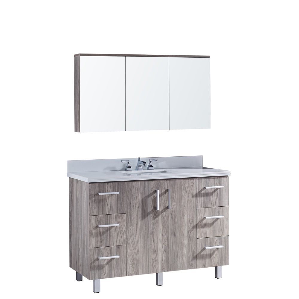 Infurniture 48 Bathroom Vanity With Phoenix White Artificial Marble Top In  Grey Walnut (Brown)
