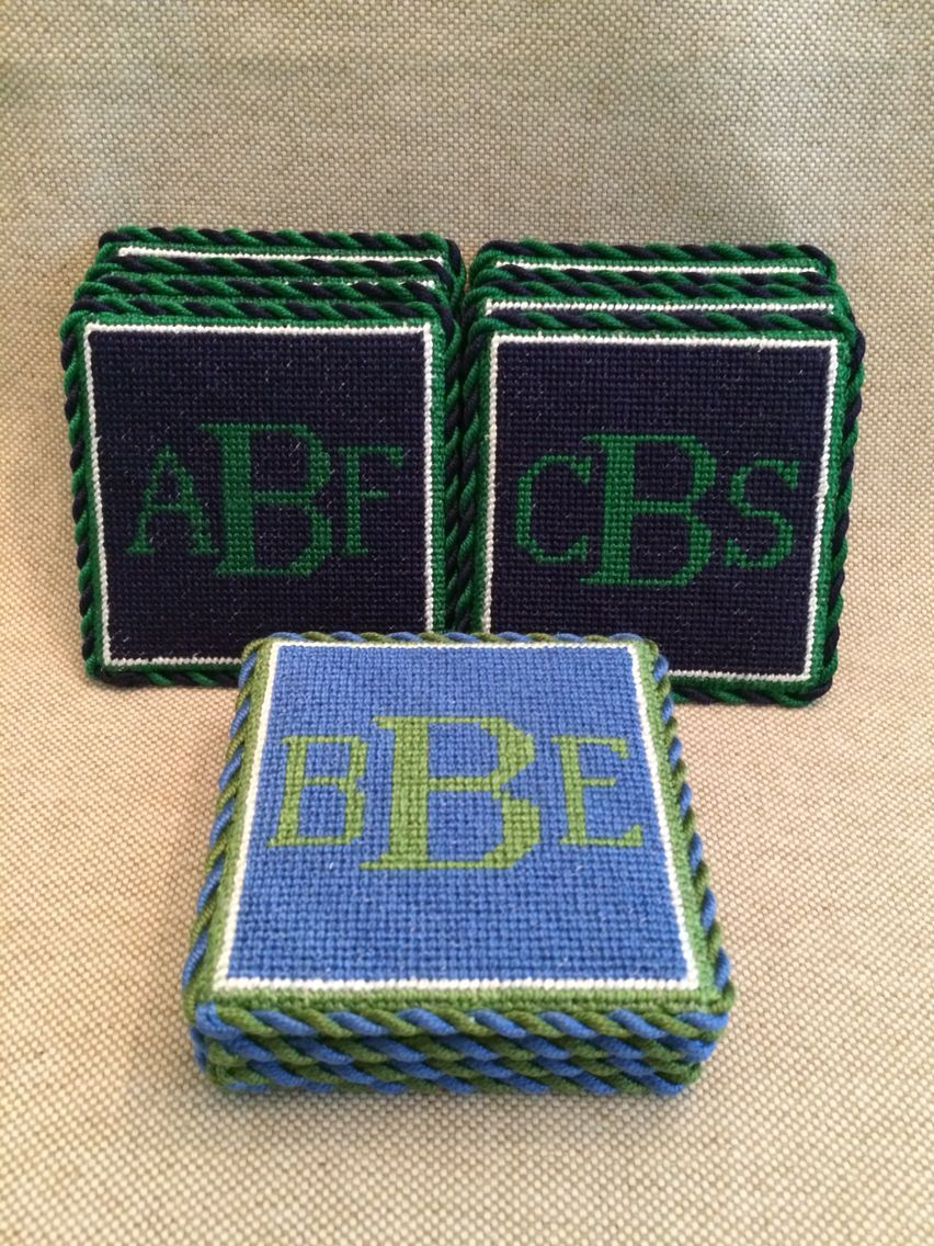 Needlepoint Monogram Coasters So Traditionally Southern Circuit Board Wall Clock By Monogramit