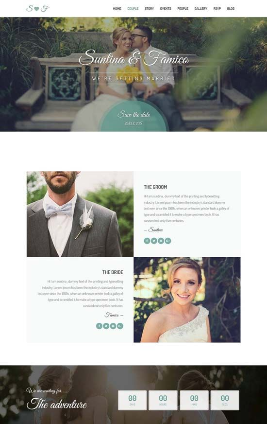 70 Best Wedding Website Templates Free Premium