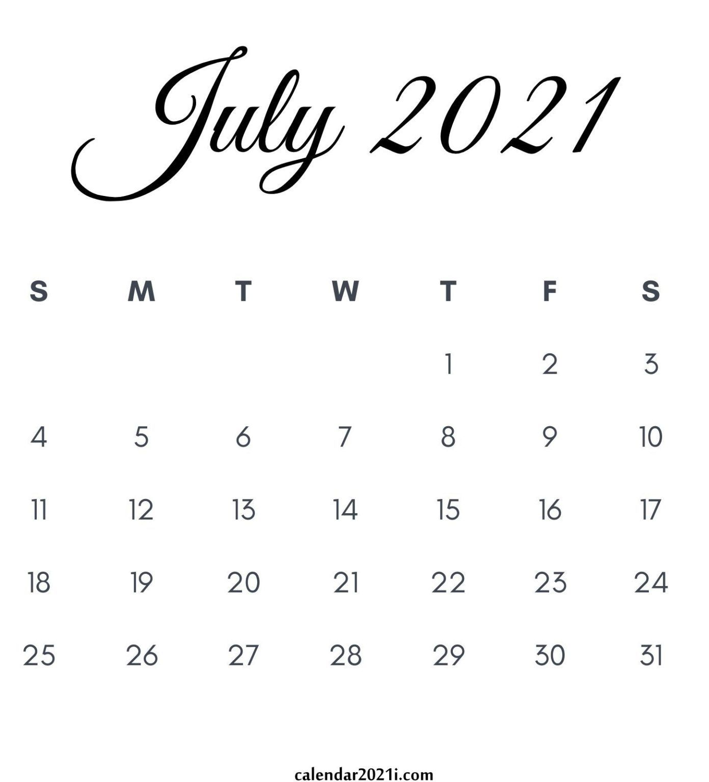 July 2021 Calendar Printable In 2020 Monthly Calendar Printable June Calendar Printable Printable Calendar July