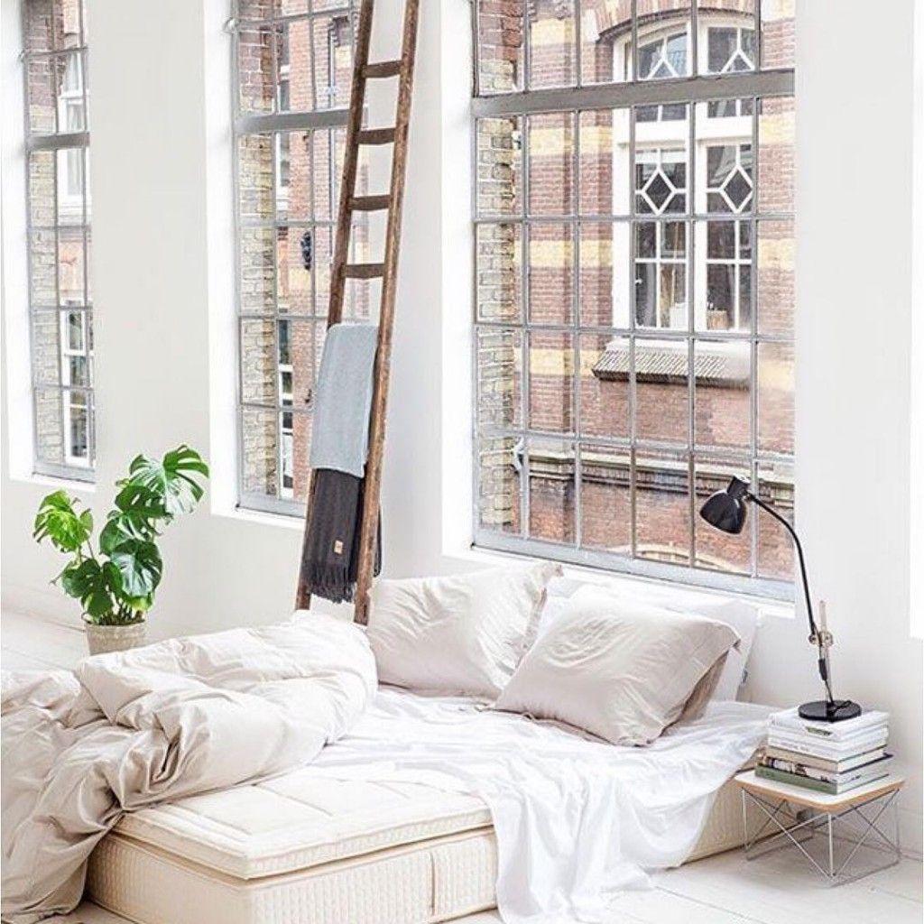 Bed on bay window  less mondays more sundays in a gorgeous new york loftshellip