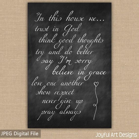 In This House We PRINTABLE sign Christian Family Rules Wall Art