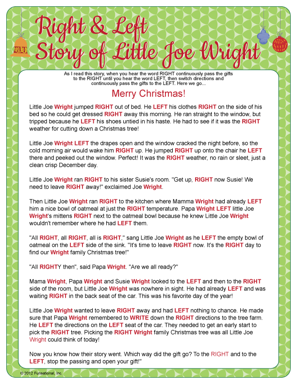 Right & Left - Little Joe Wright. Sounds fun for sharing Christmas ...