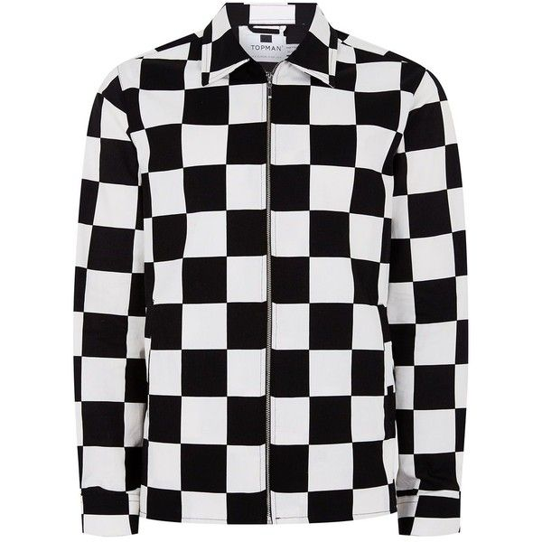 92bbcdc2b TOPMAN Black And White Check Shirt ( 49) ❤ liked on Polyvore featuring  men s fashion