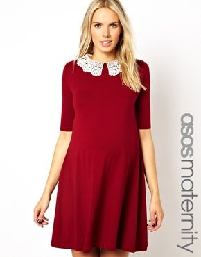 266f5d5a8d644 ASOS Maternity Exclusive Swing Dress With Crochet Collar #MaternityFashion # Maternity #Pregnancy #PregnancyStyle #BumpStyle #MaternityClothing