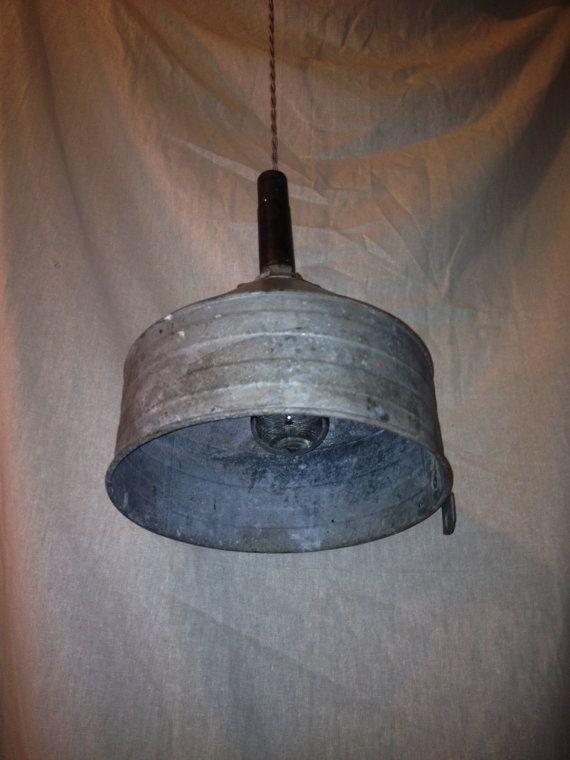 Repurposed Industrial Metal Swag Lamp, Garage, Barn, Farm, Vintage Funnel