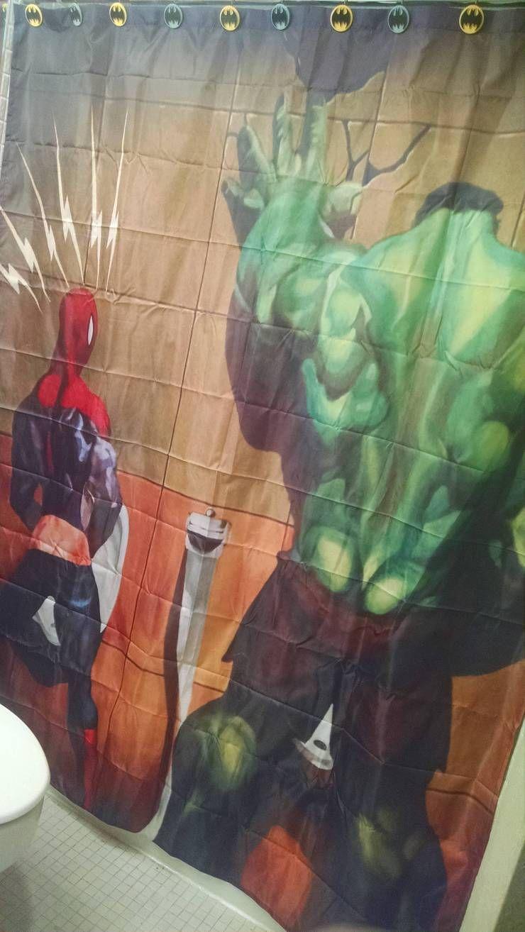 comic spider man hulk in toilet shower