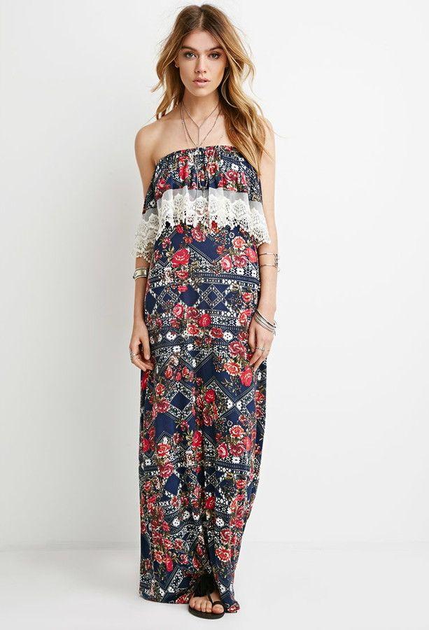 Forever 21 Forever 21 Strapless Floral Maxi Dress Maxi Dress Forever 21 Maxi Dresses Beautiful Maxi Dresses