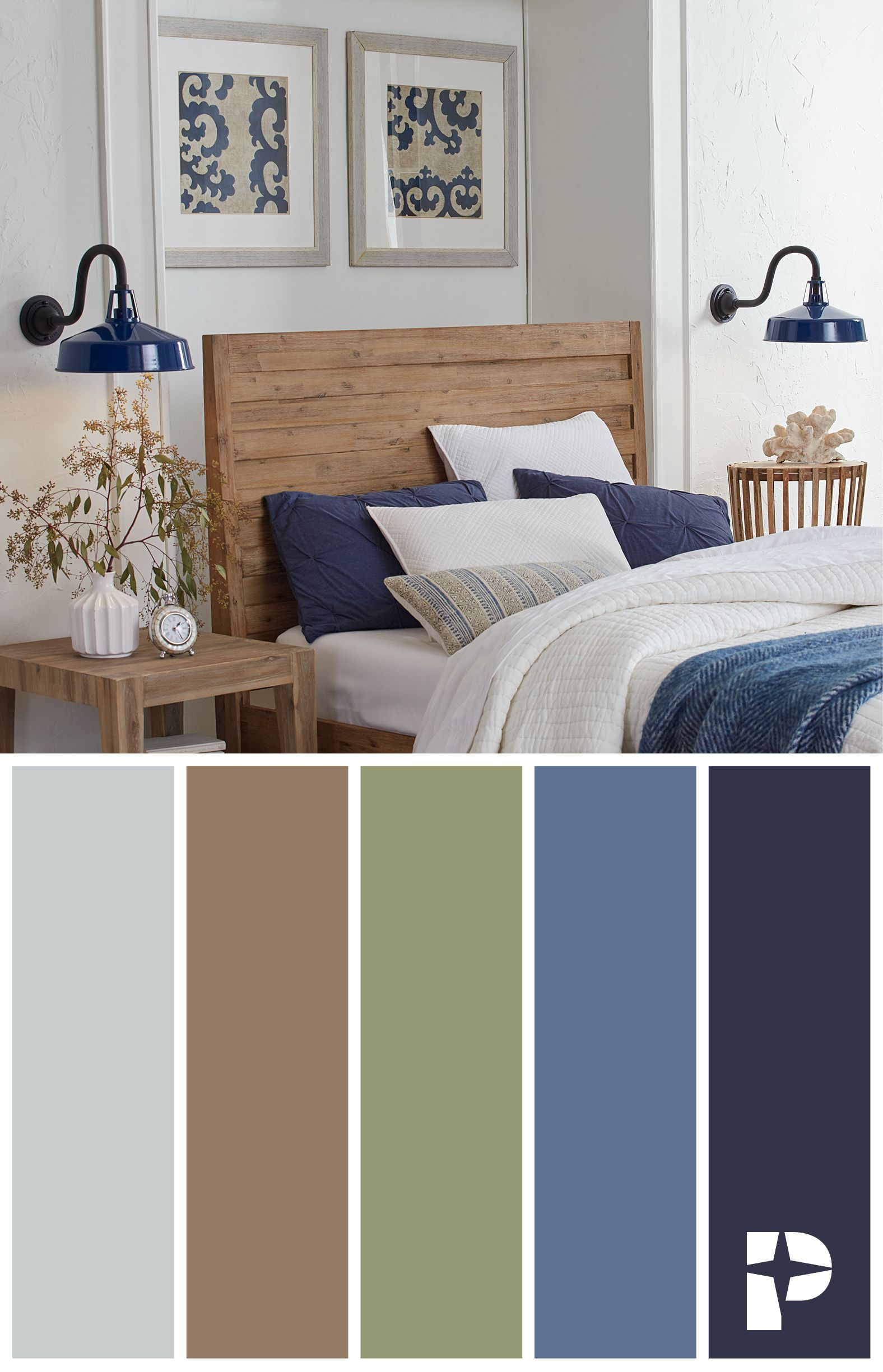 Modern Farmhouse Bedroom Design Warm Color Palette Perfectly Complemented By Navy Bedroom Inspiration Cozy Master Bedroom Color Schemes Warm Living Room Colors