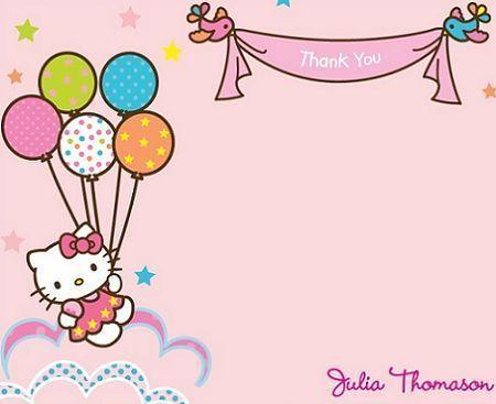 Tarjetas Cumpeanos Hello Kitty Globos Invitaciones De