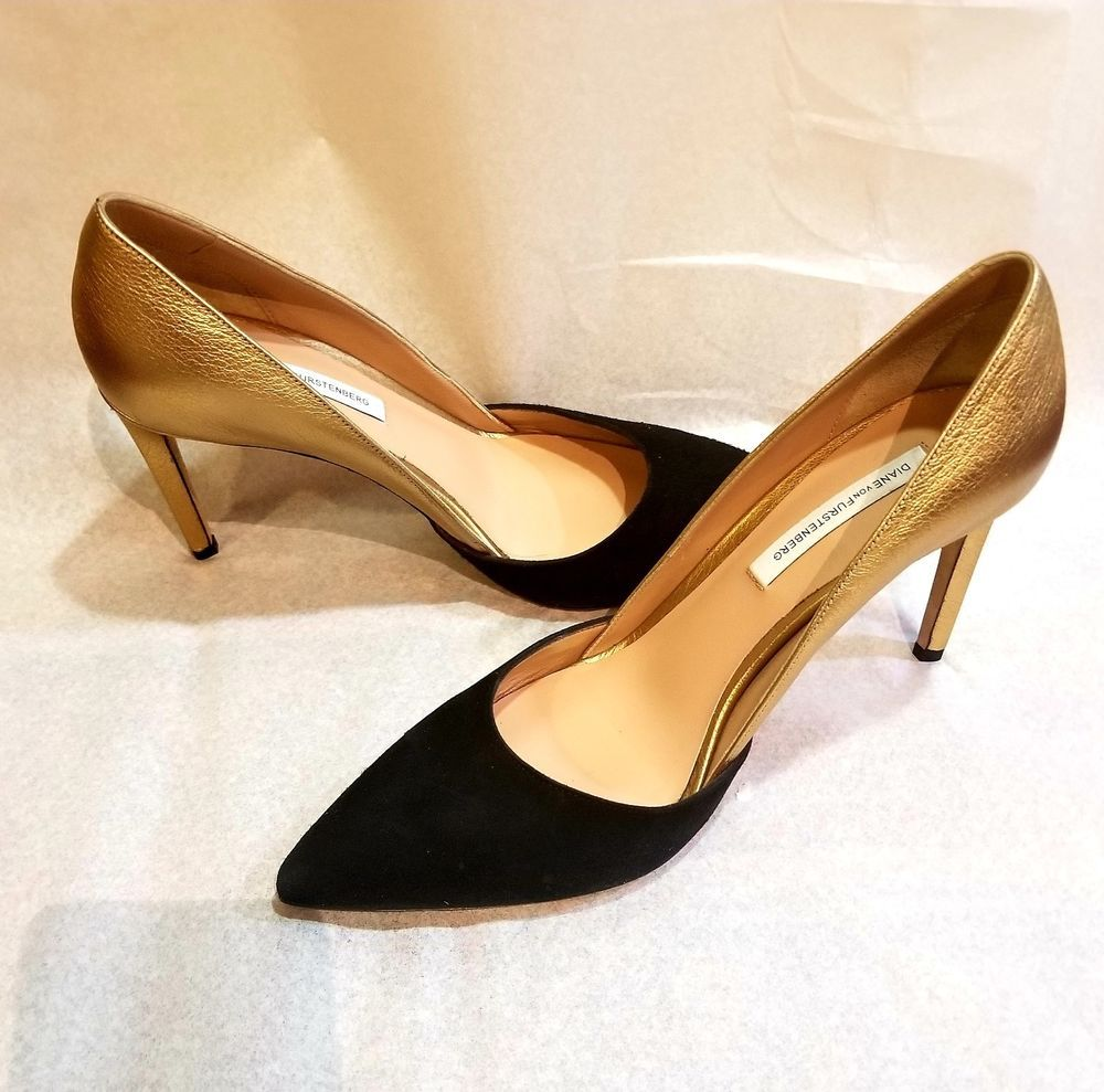 Dvf Pumps 39 5 Black Suede And Gold Leather Fashion Clothing Shoes Accessories Womensshoes Heels Ebay Link Heels Leather Pumps Black Pumps