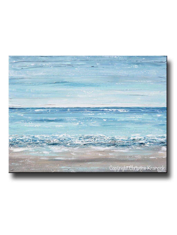 Original Art Abstract Painting Textured Seascape Beach Ocean Blue
