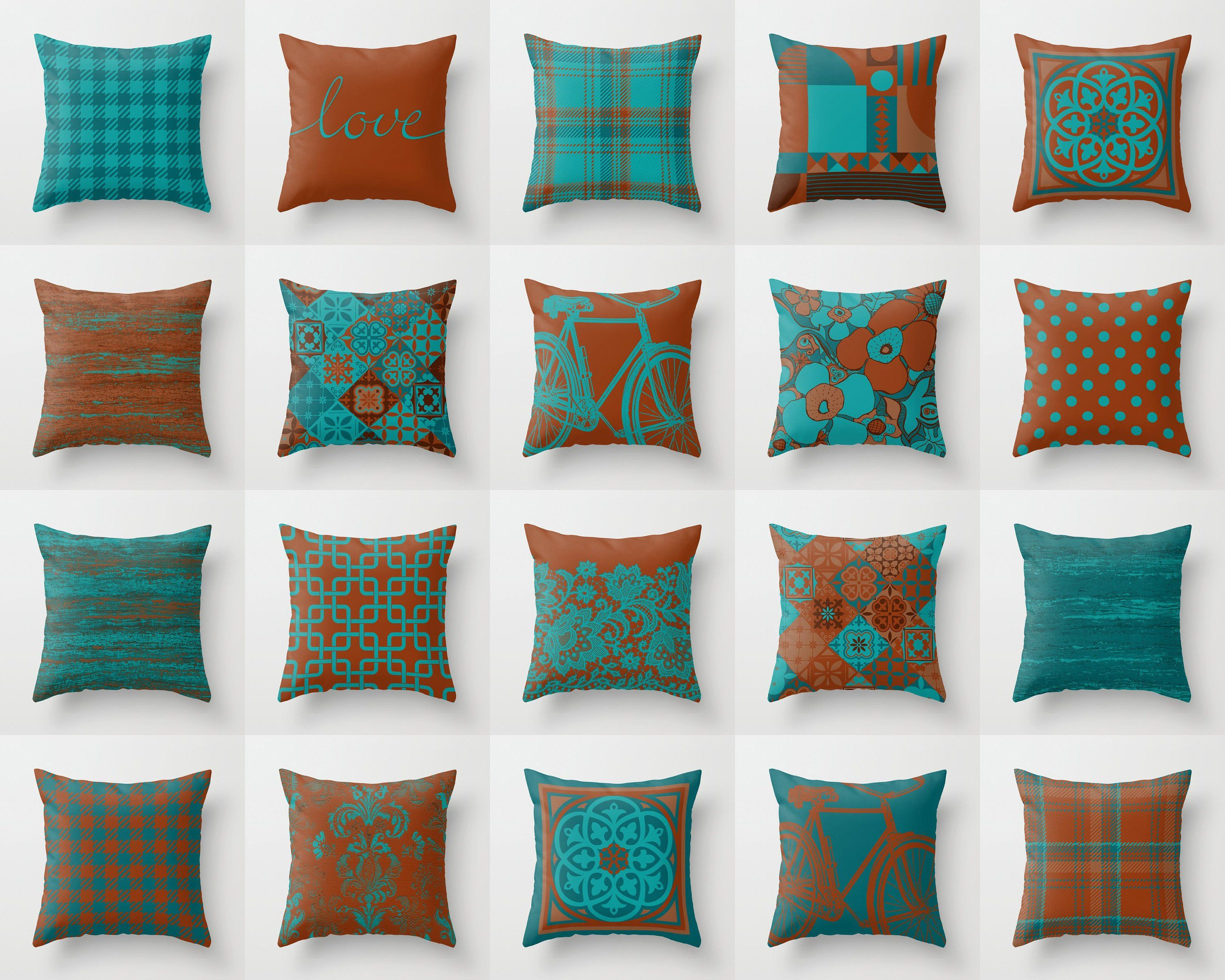 Teal Turquoise Blue Rust Brown Throw Pillow Mix And Match Indoor