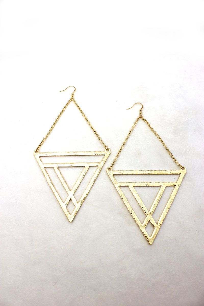 Tribal Warrior Gold Triangle Earrings