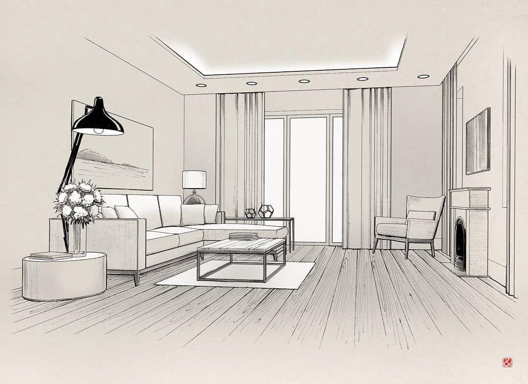 Pin By Azril Amar On Living Room Interior Architecture Drawing Interior Design Sketches Interior Design Drawings