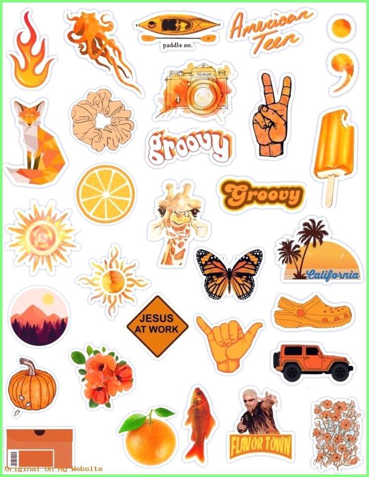 Wallpaper Tumblr Orange Stickers Yazdirilabilir Planlayici