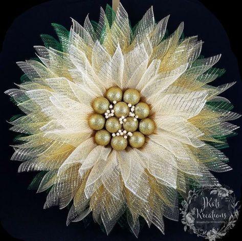 Photo of Deco Mesh Single Petal Flower Wreath Tutorial