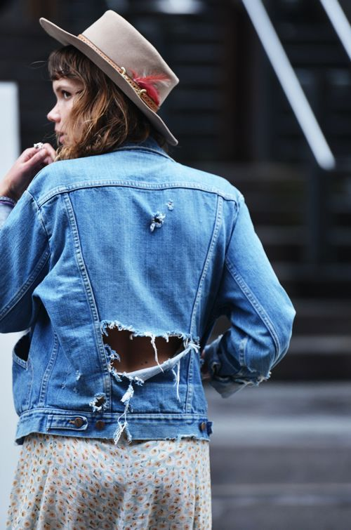 hats on with destroyed denim. NYC.