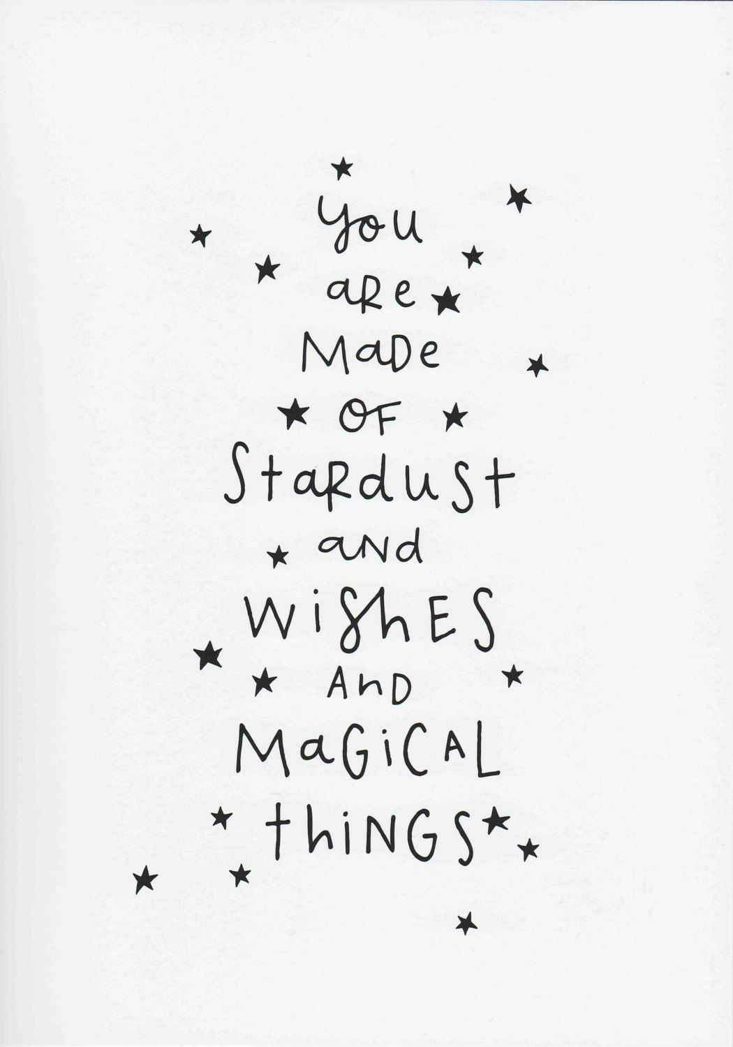 Monochrome Nursery Print, You Are Made Of Stardust and