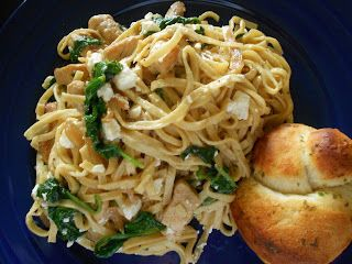Linguine with Chicken, Spinach and Feta #cookingfortwo #easyweeknightmeals