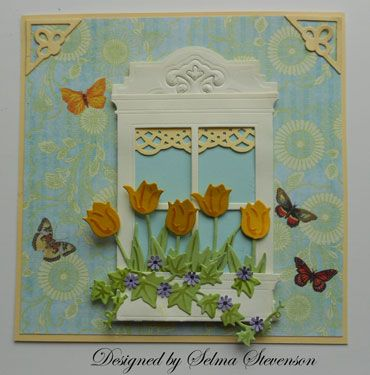 Selma's Stamping Corner: Madison Window die with box of tulips.
