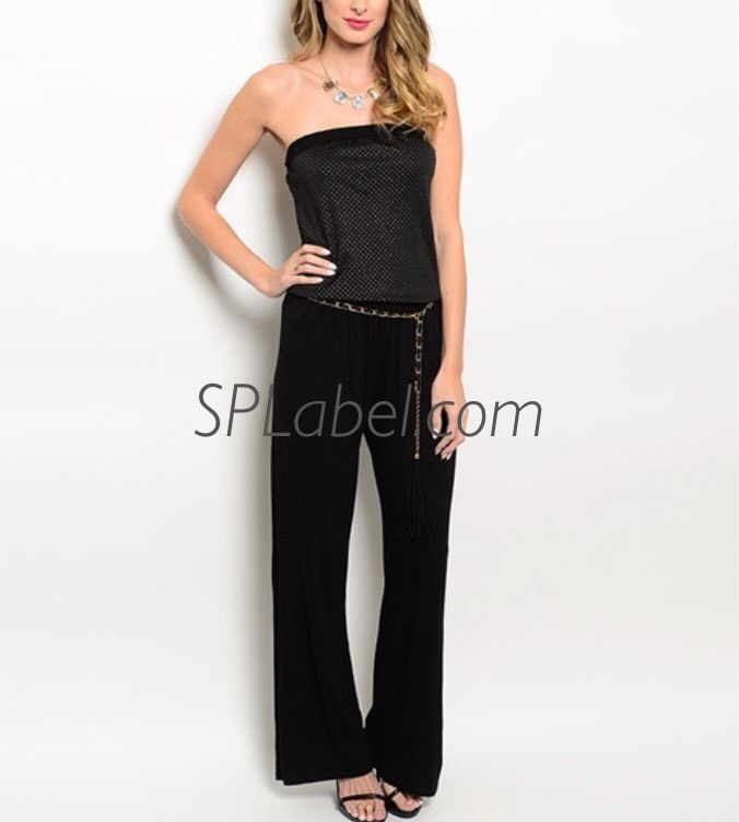 New Women Black Silver Strapless Jumpsuit Size S  | eBay