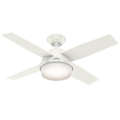 Hunter Fan 44 Dempsey With Light 4 Blade Ceiling Remote Finish Fresh White Blonde Oak Blades