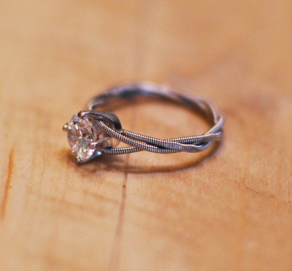 Hammered Engagement Ring Guitar String Engagement Ring