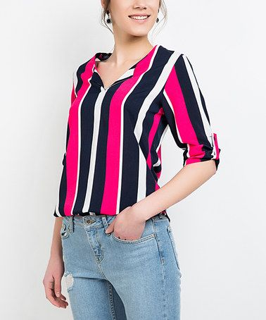 Loving this Fuchsia & Black Stripe Three-Quarter Sleeve Top on #zulily! #zulilyfinds