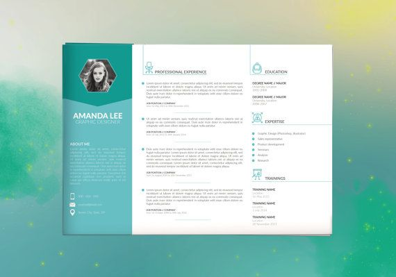 horizontal resume template  cv template   cover letter
