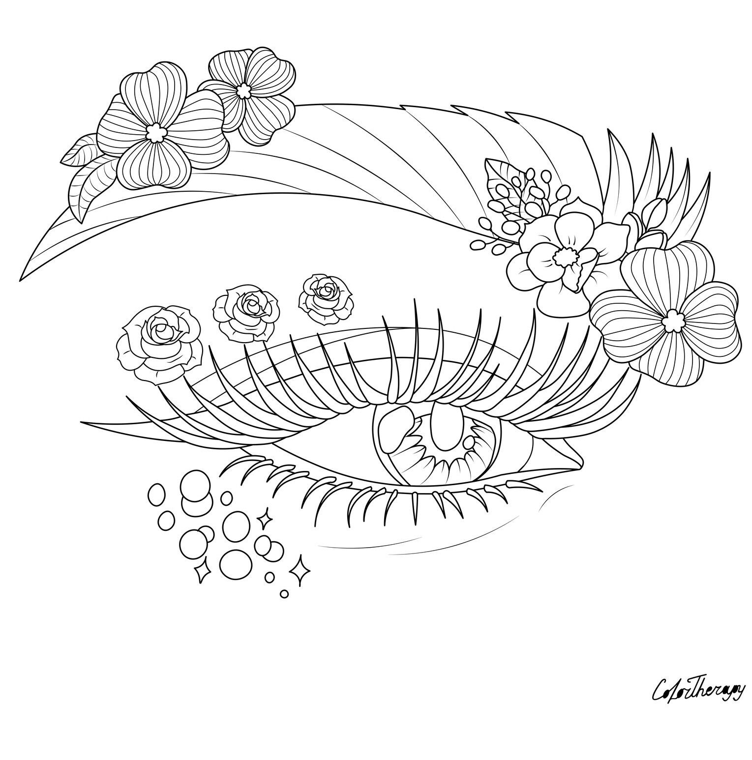 The Sneak Peek For The Next Gift Of The Day Tomorrow Do You Like This One Eye Flowers Makeup Coloring Pages Fairy Coloring Pages Tattoo Coloring Book