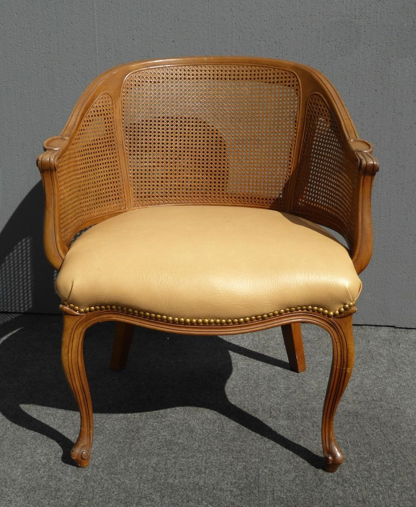 Vintage French Style Cane Tan Leather Club Accent CHAIR  #FrenchProvincialLouisXVStyle #Unknown