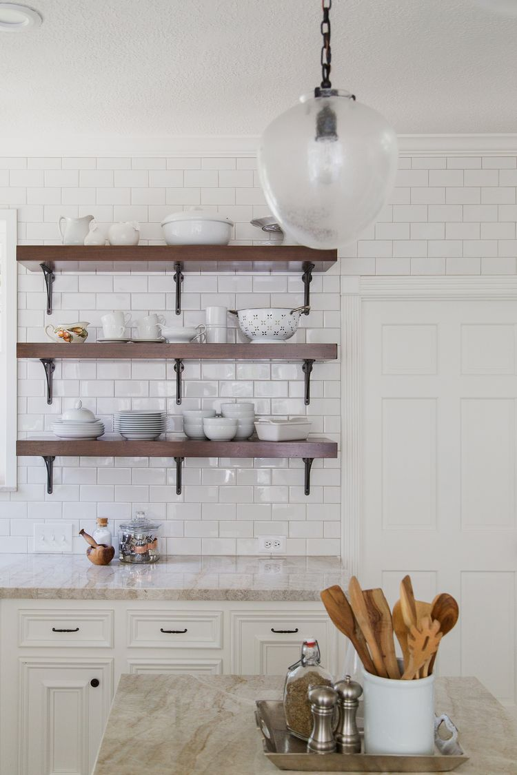 Wood Open Shelves With Black Brackets In All White Kitchen