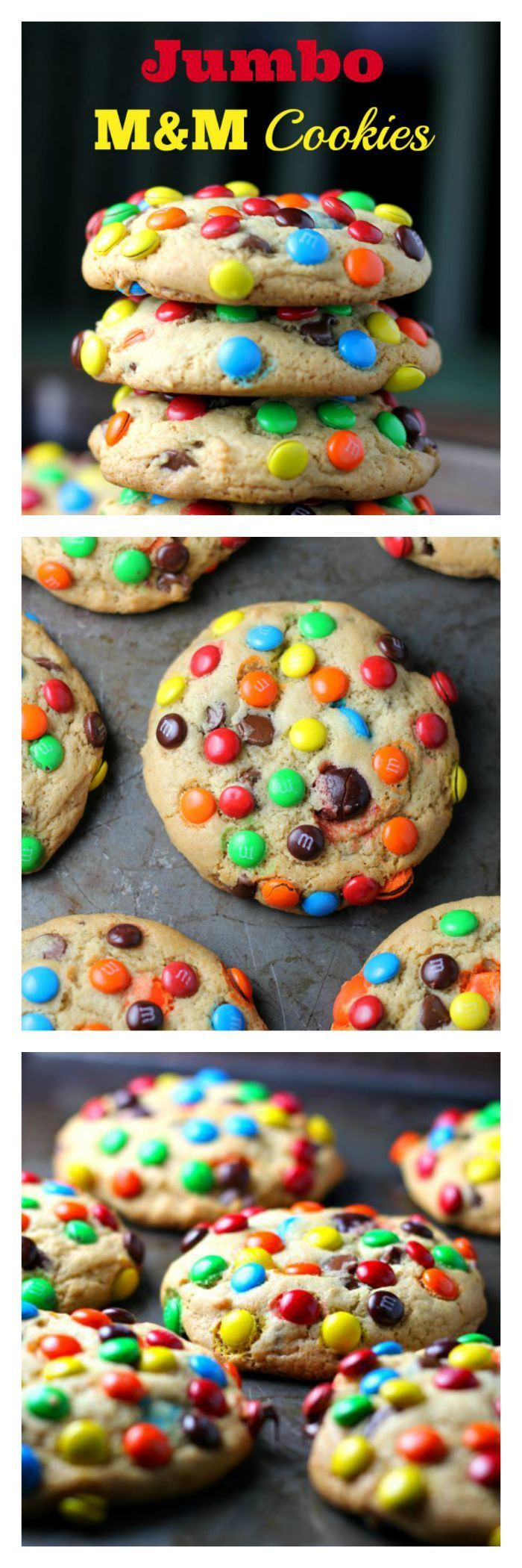 JUMBO 'Soft Batch' M&M Cookies - JUMBO 'Soft Batch' M&M Cookies - These rainbow JUMBO cookies have 2 secret ingredients! Pudding and butter extract. So you get, soft, thick, fluffy and buttery cookies loaded with M&Ms and chocolate chips. I think I can (birthday brownies graham crackers)