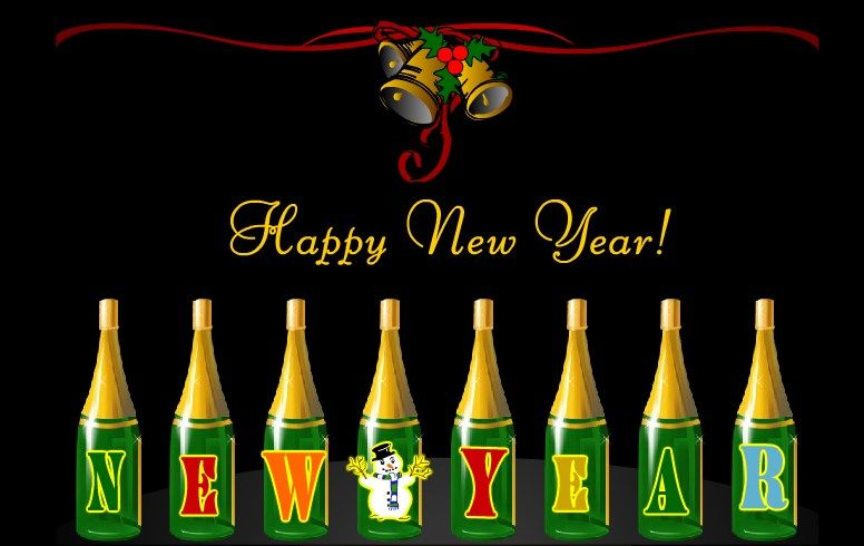 wine bottles new year greeting 2017