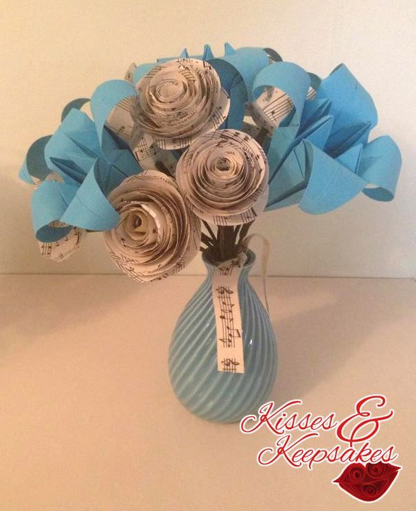 Blue paper lilies and music note roses in a beautiful blue vase blue paper lilies and music note roses in a beautiful blue vase mightylinksfo